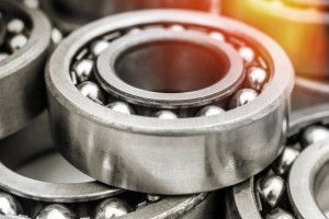 Background of metal bearings. Close up.